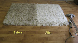 Before and after area rug cleaning